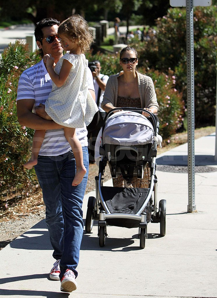 Jessica Alba and Cash Warren with Honor and Haven at the park.