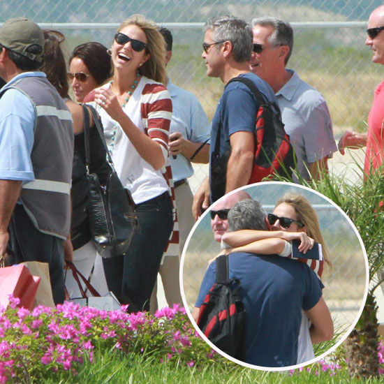 George Clooney Gives a Big Hug to Stacy Keibler to Kick Off Their Cabo Vacation!