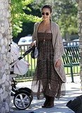 Jessica Alba in a maxi dress at the park.