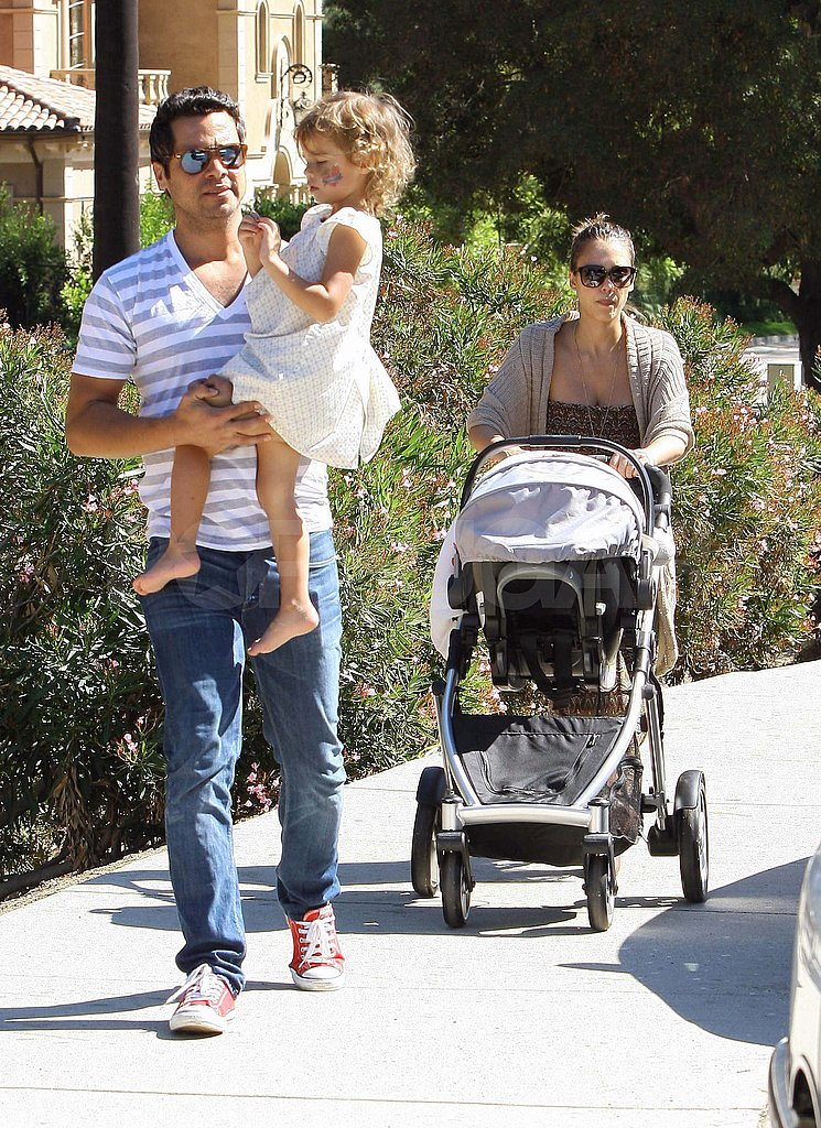 Jessica Alba with her family at the park in LA.
