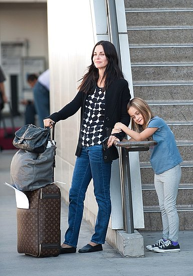 Courteney Cox and Coco Arquette waited for a ride outside LAX.