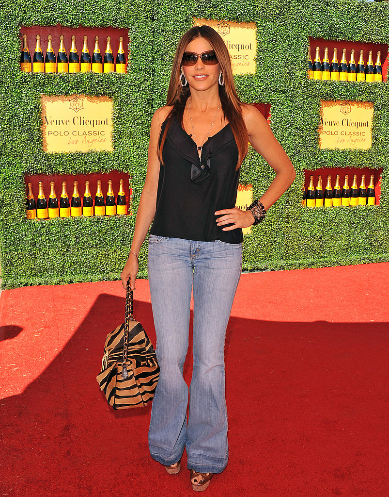 Sofia Vergara carried an animal print bag on the red carpet.