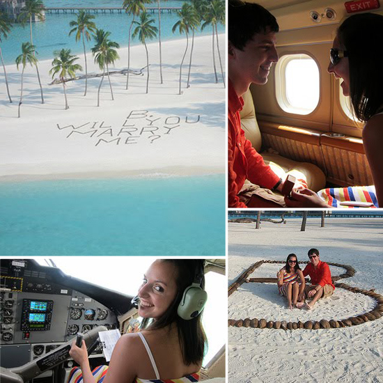 This pair of lovebirds were on a two-week vacation around the world when the thoughtful boyfriend proposed with a message in the sand during a seaplane ride. So fun! Source: Green Wedding Shoes