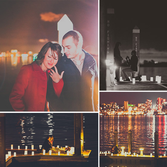 A dreamy proposal is made picture-perfect thanks to a light-filled pier, San Diego waters, and the shimmery cityscape in the background. Photos by Studio Castillero via Carter and Cook Event Co.