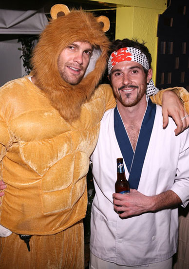 "The Karate Kid Dave Annable practiced his ""wax on, wax off"" alongside buddy Geoff Stults, who dressed as a lion."