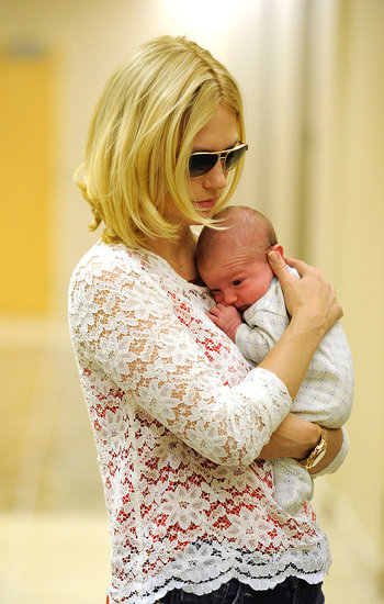 January Jones with baby Xander.