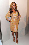 Beyoncé shone in sparkly nude during fashion week.