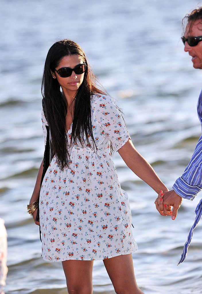 Camila Alves held onto Matthew McConaughey in Tampa.