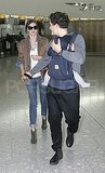 Miranda Kerr and Orlando Bloom leave the UK with their young son Flynn Bloom.