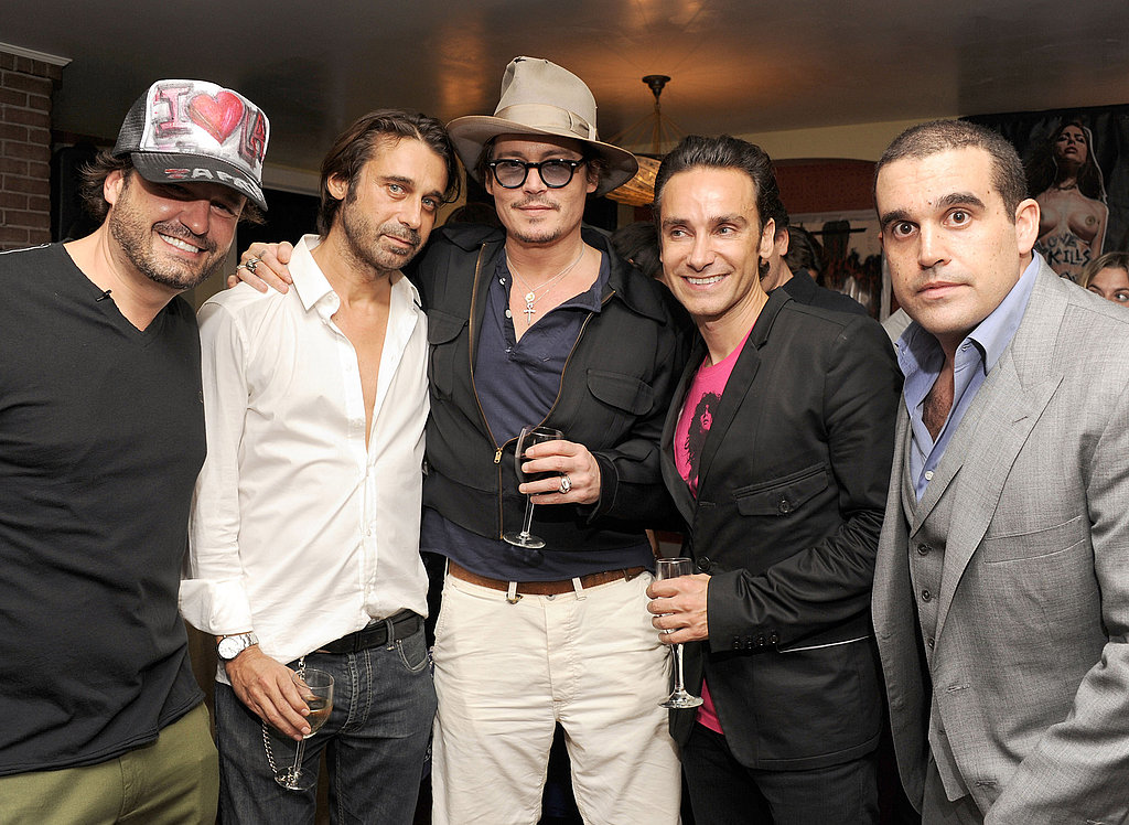 Domingo Zapata, Jordi Molla, Johnny Depp, Antonio Del Prete, and Seth Semilof at an art opening at the Chateau Marmont in LA.
