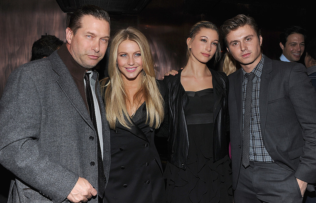 Stephen Baldwin, Julianne Hough, Hailey Baldwin, and Kenny Wormald got together at the Footloose premiere party in NYC.