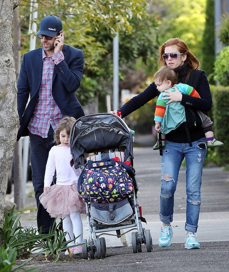 Isla Fisher, Sacha Baron Cohen, Elula Cohen, and Olive Cohen went out in Sydney on Sacha's 40th birthday.