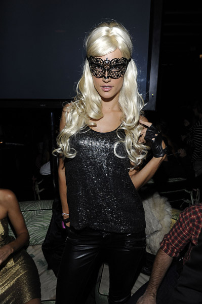 Supermodel Alessandra Ambrosio wore a blonde wig and a sexy lace mask at a 2010 Halloween shindig in NYC.