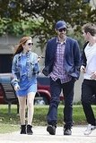 Isla Fisher and Sacha Baron Cohen headed to a marina in Australia.
