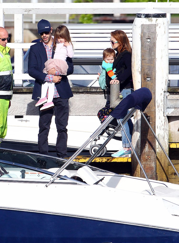 Isla Fisher, Sacha Baron Cohen, Elula Cohen, and Olive Cohen enjoyed a boat ride in Australia.