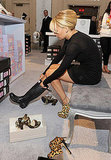 Nicole Richie tries on shoes in NYC.