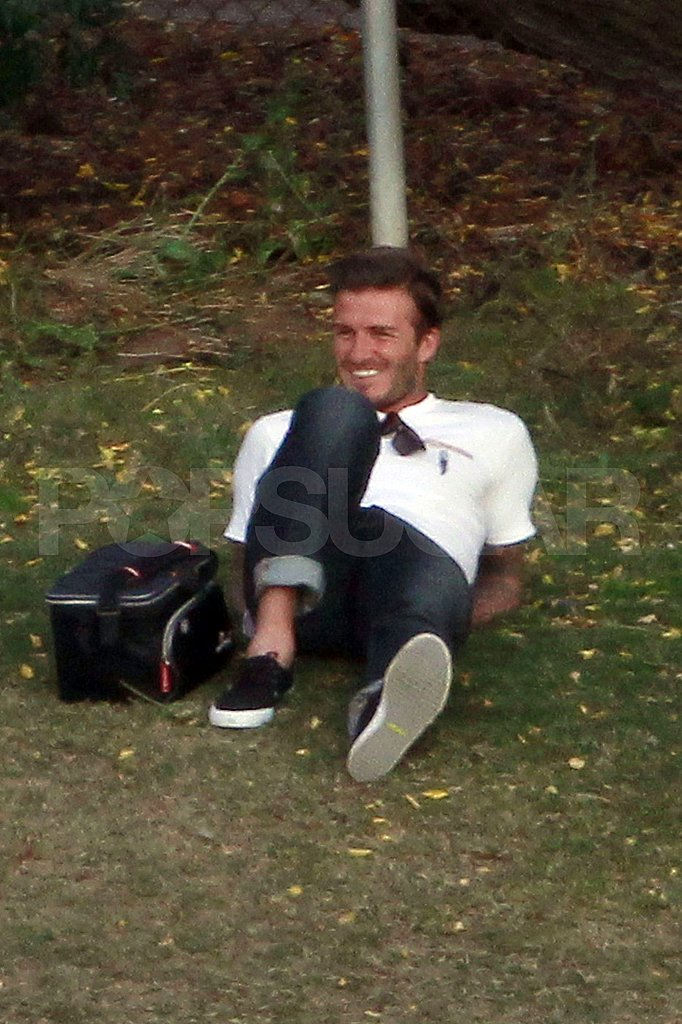 David Beckham relaxed and looked hot at his sons' soccer practice.