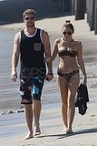 Miley and Liam took a walk on the beach in Malibu.