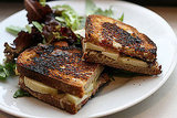Grilled Cheese With Apples and Raspberry Coulis