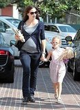 Violet Affleck carried her doll and Jennifer Garner toted a birthday present.