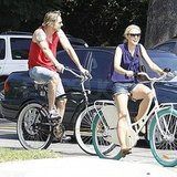Kristen Bell and Dax Shepard biked around LA.
