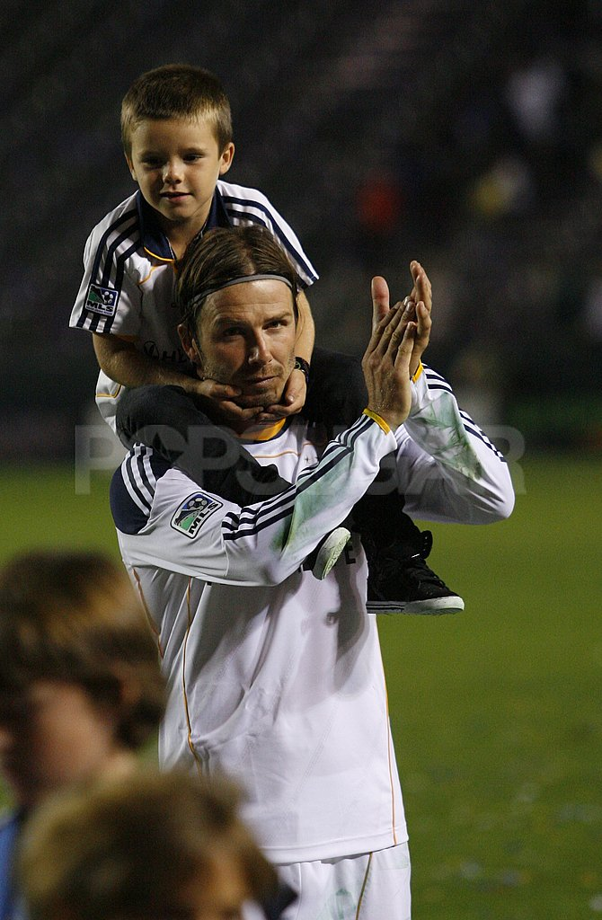 David Beckham played with Cruz Beckham after winning a soccer game in LA.