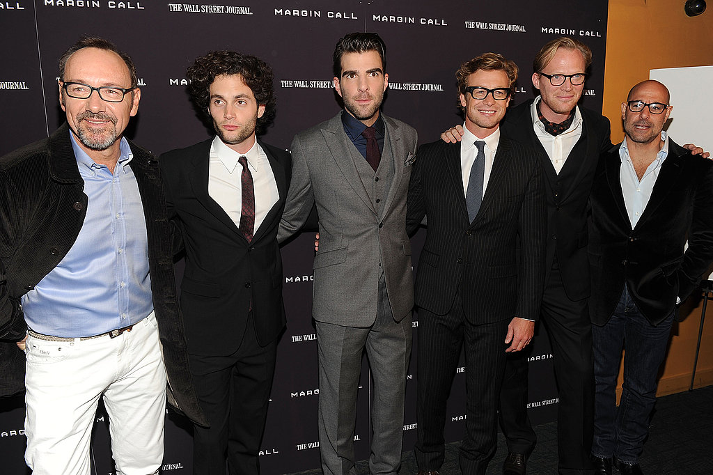 The men of Margin Call, Simon Baker, Paul Bettany, Kevin Spacey, Penn Badgley, Zachary Quinto, and Stanley Tucci, at the film's premiere in NYC.