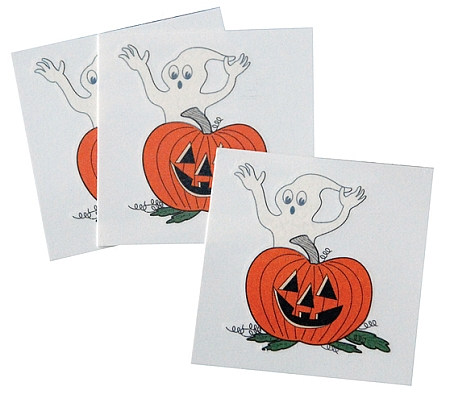 Pumpkin & Ghost Tattoos — Pack of 50 ($13)