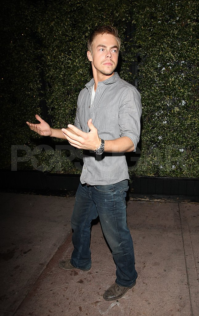 Derek Hough left LA's Beso after dinner with Lauren Conrad.