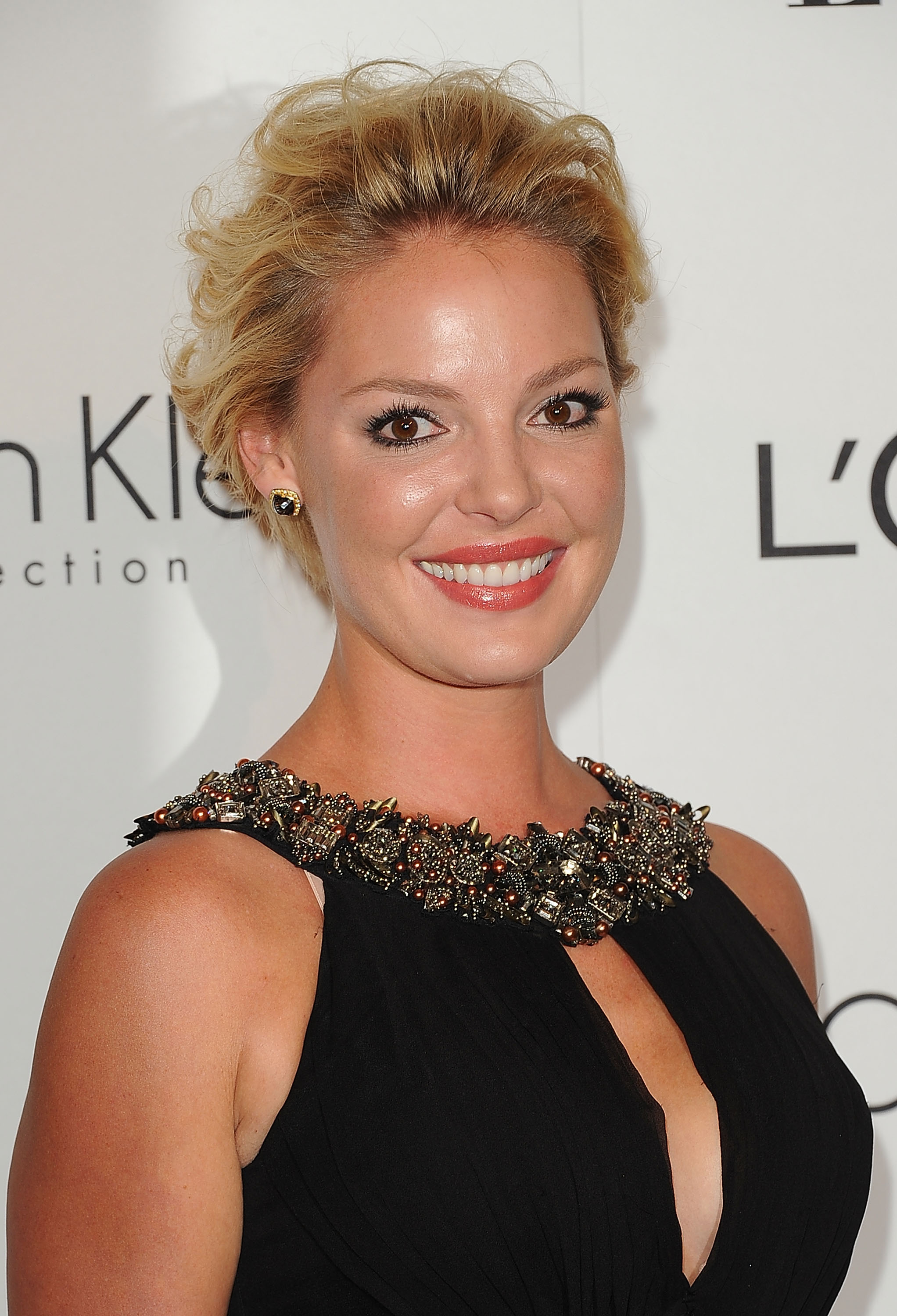 Katherine Heigl swept her hair back for an event in LA.