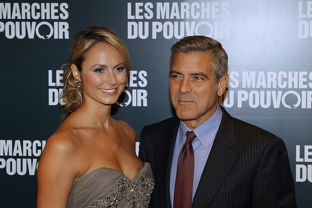 George Clooney and Stacy Keibler at the Paris premiere of The Descendants.
