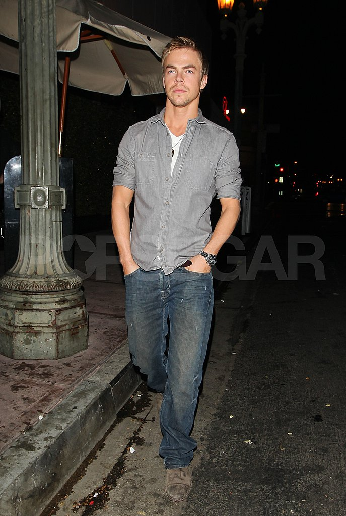 Derek Hough wore jeans to dine and club with Lauren Conrad.