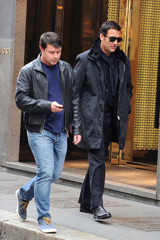 Clive Owen hung out with a friend in Milan.