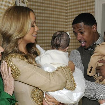Mariah Carey and Nick Cannon with baby Monroe.