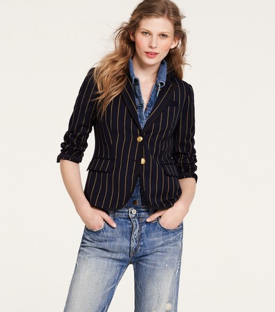 The stripes take this classic blazer from schoolboy basics to quirky polish. J.Crew Schoolboy Blazer in Academy Stripe ($198)