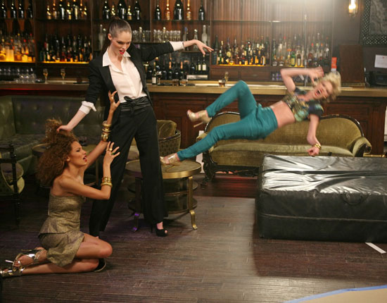 Tyra criticized Laura for failing to model with her body language, and Talley compared her to a stunt extra.  Photo courtesy of CW