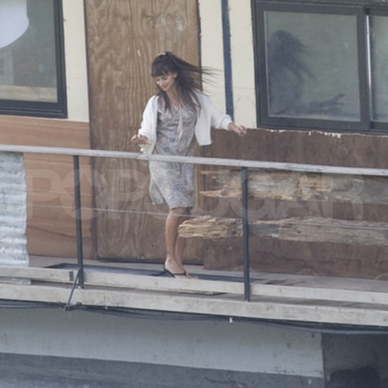 Penelope Cruz filmed on a balcony.