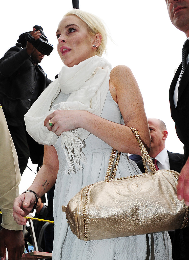 Lindsay Lohan wore white layers to her hearing.