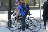 Shia LaBeouf rode his bike in Vancouver.
