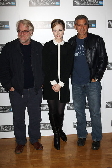 George Clooney, Philip Seymour Hoffman, and Evan Rachel Wood came out to support The Ides of March.