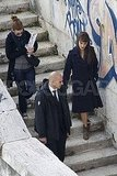 Penelope Cruz walked to set in Rome.
