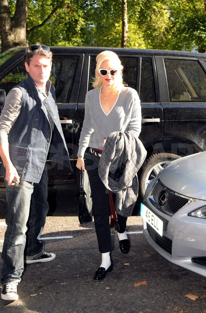 Gwen Stefani wore white socks and loafers in London.