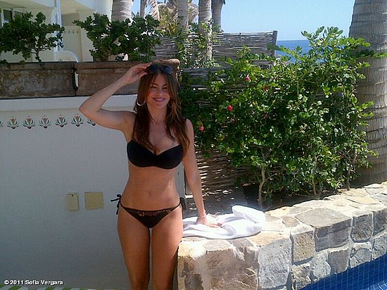 Sofia Vergara in a black bikini. 