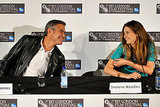 George Clooney shared a smile with Shailene Woodley.