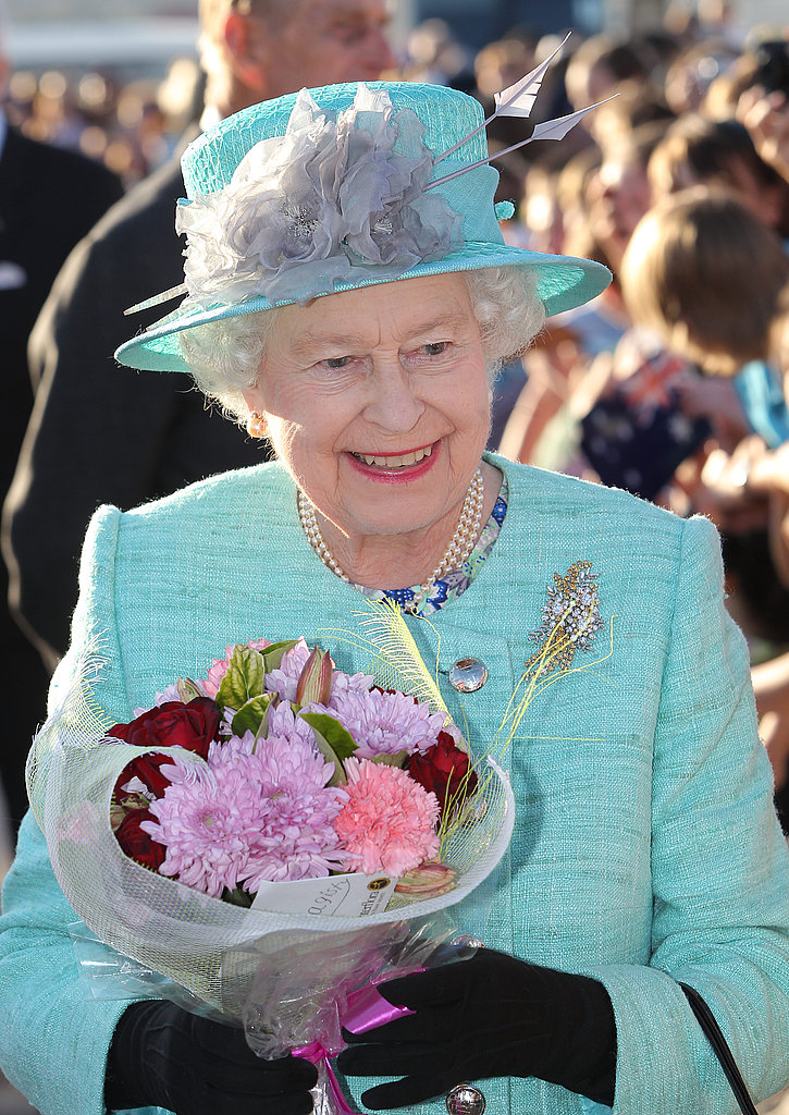 Queen Elizabeth is all smiles.