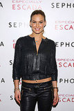 Bar Refaeli brought her bright smile to an Escada event in NYC.