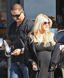 Jessica Simpson in black dress in LA.