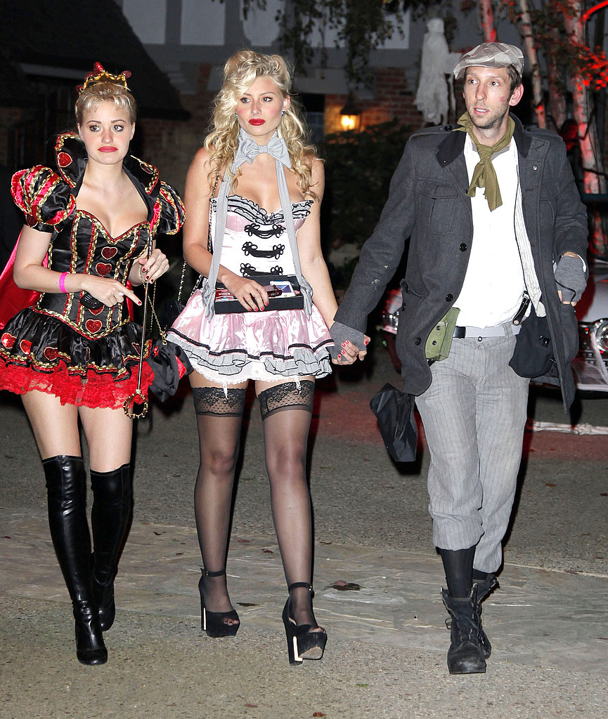 Aly and AJ Michalka with Joel Moore at Kate Hudson's Halloween party.