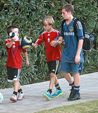 Cruz Beckham, Romeo Beckham and Brooklyn Beckham hung out after their soccer game.