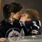 Selena Gomez planted a kiss on Justin Bieber.